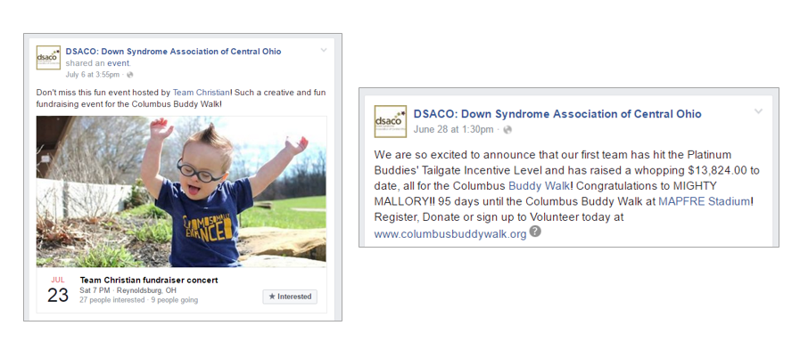 Social media examples of promoting walk team fundraisers
