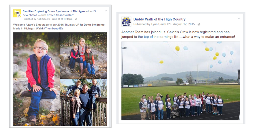 Social media examples of thanking walk teams for registering