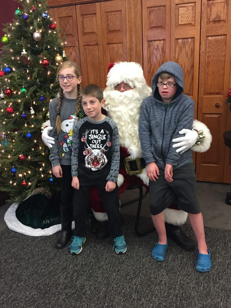 Alex Addie Andrew with Santa