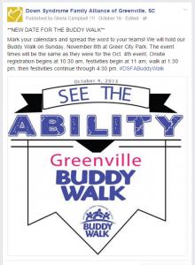 Greenville Buddy Walk Reschedule Announcement